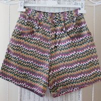 Vintage 80's Aztec high waisted cotton denim Jeans shorts // Small Size