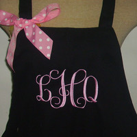 Monogram Apron Beautiful Full Apron Customized Personalize Apron Birthday Gift  Woman Gift Personalize Gift Retirement Gift