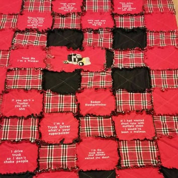Big rig trucker rag quilt handmade lap quilt 18 wheeler truck driver blanket big rig sleeper quilt red and black Fathers Day gift