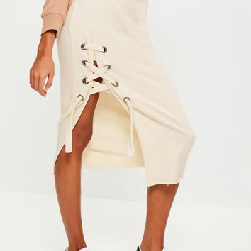 Missguided - Cream Jersey Eyelet Detail Midi Skirt