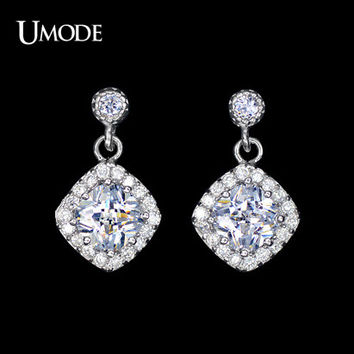 UMODE Small Cute Brincos Stud Earrings for Women White Gold Color Square Cubic Zircon Piercing Earrings Boucle D'oreille UE0098