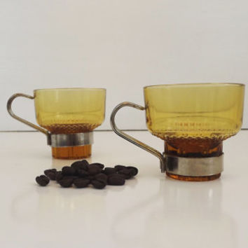 Vintage / Retro Amber Colored Espresso / Cappuccino / Coffee Cups - Set of 6 Demitasse Mugs - Made in Italy - Metal Handles and Holder