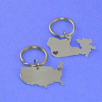 Canada and United States Keychain or Necklace Set - Best Friend Gift - Couples Gift - Long Distance Love