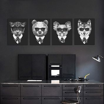 Modern Vintage Abstract Black White Mafia Animals Deer Fox Canvas Big A4 Print Poster Wall Picture Home Decor Painting No Frame