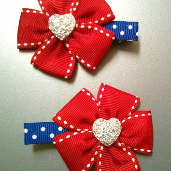 Patriotic 4th of July Flower Hair Clips with Sparkly Heart for Everyone -- Baby, Infant, Toddler, Girl and Adult