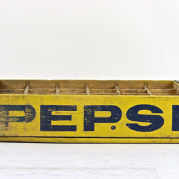 Soda Crate, Pop Crate, Vintage Pepsi Crate, Wood Crate, Wooden Crate, Industrial Decor