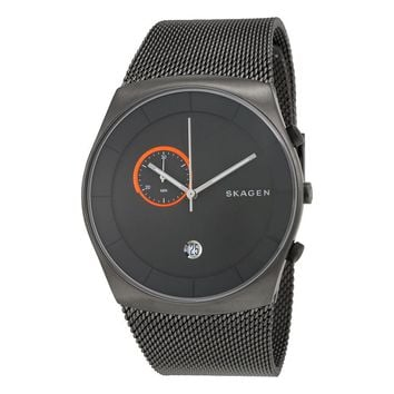 Skagen Havene Grey Dial Stainless Steel Mesh Bracelet Mens Watch SKW6186