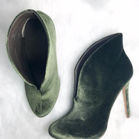Sweet Emotion Olive Velvet Booties
