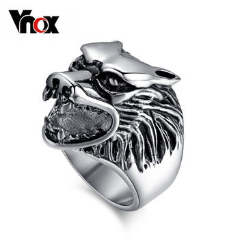 Fashion Wolf Head Rings For Men 316L Stainless Steel Rock Punk Rings Cool Biker Jewelry Classic Design Animal Rings Jewelry