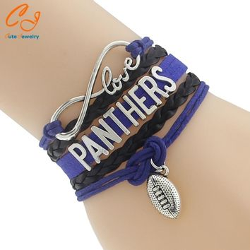 Infinity Love Carolina State Panthers Football Team Bracelet blue black Customize Sport friendship bracelets