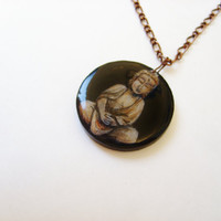 Wearable Art Hand Painted Buddha Necklace - Pendant Buddhist Jewelry - Gift Wrapped for the Holidays