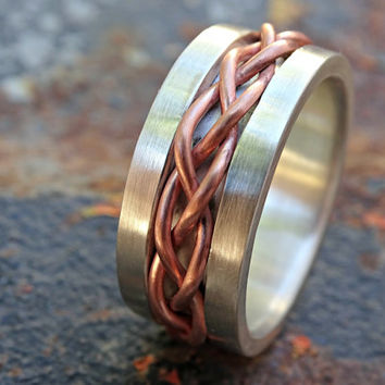 bold braided ring silver copper, unique wedding band silver, mens eternity ring mixed metal, celtic mens ring, medieval wedding band