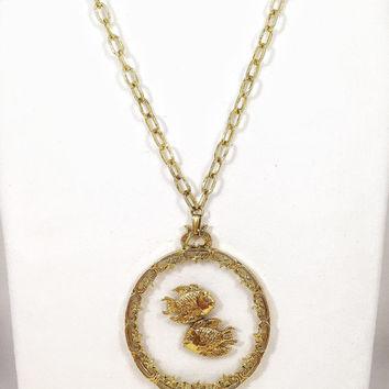 ART Pisces necklace, vintage fish necklace, large gold medallion, gold zodiac necklace, 1960s vintage necklace
