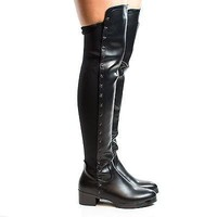 Demy2 By DBDK, Round Toe Thigh High Star Studded Block Heel Riding Boots