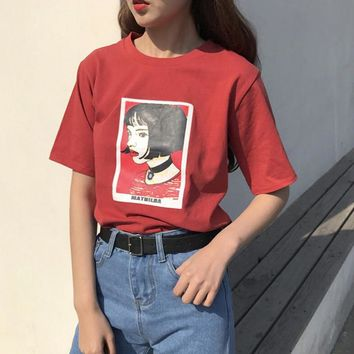 Mathilda Leon The Professional T-Shirt Women South Korea Ulzzang Harajuku Style Head Portrait Loose Sets Of T-Shirt Female Top
