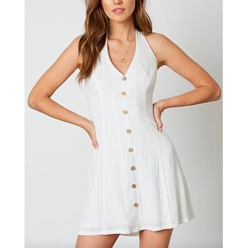 Cotton Candy - Fairgrounds Halter Linen Mini Dress - White