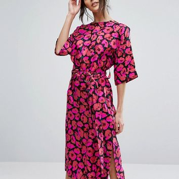 Warehouse Poppy Print Silk Column Dress at asos.com