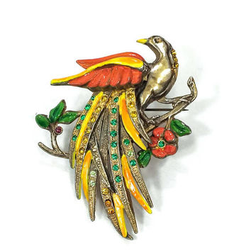 Tropical Bird Brooch, Bird of Paradise, Orange Yellow Red Enamel, 1940s, Retro Statement  Vintage Jewelry