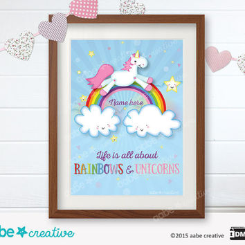 Personalised Unicorn Print / Cute Unicorn Print