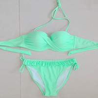 2015 Fresh Green Bikini Set Swimwear