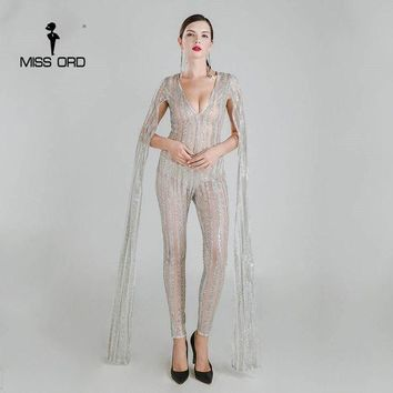 DKLW8 Missord 2017 Sexy Deep-V cut out long sleeve glitter sequin JUMPSUITS FT4682