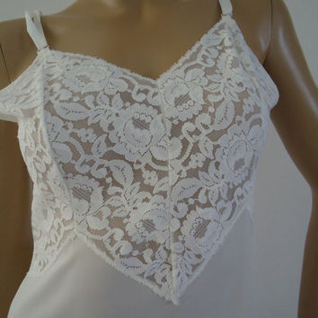 Aristocraft by Superior Wide Lace Full White Slip Vintage 1960 Wedding Honeymoon Ladies Lingerie Size 36