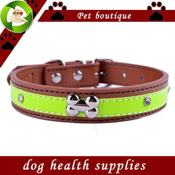 Personalized Very Studded Reflective Receiver Collar Pu Leather Training Collars Necklace Pet Products For Creatures Crimson S