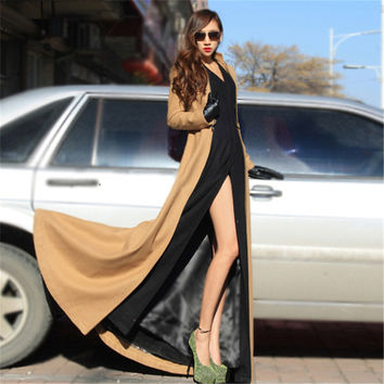 Fashion Women Winter Maxi Long Woolen Coats Cool Style Floor Length Slit Wool Zipper Removable Big Peplum Breaker Trench Coat