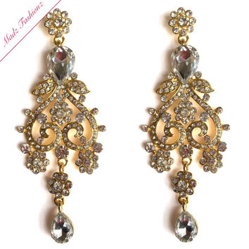 Gold Chandelier Earrings Rhinestone Bridal Earrings Cubic Zirconia Crystal Earrings | MadzFashionz