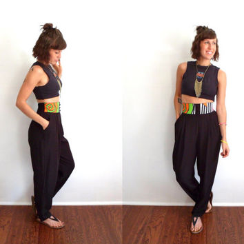 80's 90's Neon Geometric High Waist Hip Hop Jam Harem Pants Black