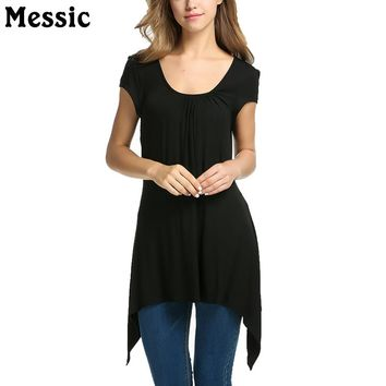Messic Scoop Neck Long T Shirt Women Ruched Female T-shirt Top 2017 Summer Autumn Casual Short Sleeve Cotton Tee Shirt Femme