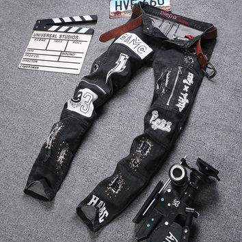 Men Men's Fashion Simple Design Pants Jeans [6528555203]