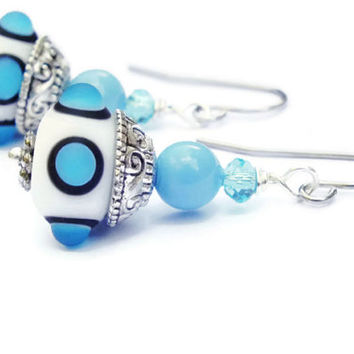 Blue Lampwork Bead Earrings, Swarovski Pearl Earrings, Surgical Steel Earrings