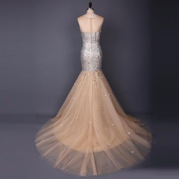 Prom Dresses Scoop Beading Champagne Mermaid Tulle Long Train Weddings Events Formal Gown