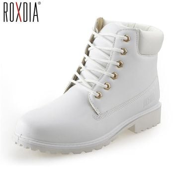 ROXDIA autumn winter women ankle boots new fashion woman snow boots for girls ladies work shoes plus size