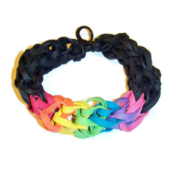 Black and Rainbow Rubber Band Bracelet - Awesome for Sporting Events, Fundraisers, and Party Favors - Stretch Bracelet