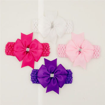 Classic headbands hair elastic bands ribbon bows kids infant baby girls head wraps accessory lace satin flower hairband headwrap
