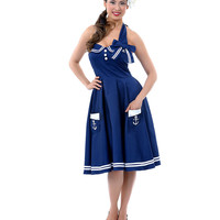 Hell Bunny Navy & White Anchor Halter Motley Dress - Unique Vintage - Prom dresses, retro dresses, retro swimsuits.