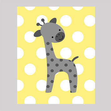 Gray Giraffe on Yellow Dots Print , Baby Nursery Art, CUSTOMIZE YOUR COLORS, 8x10 Prints, nursery decor nursery print art baby room decor
