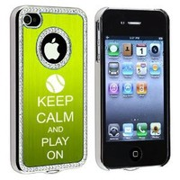Apple iPhone 4 4S 4G Green S1863 Rhinestone Crystal Bling Aluminum Plated Hard Case Cover Keep Calm and Play On Baseball Softball