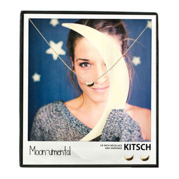 Kitsch Moon-umental Necklace & Earring Set Gold - 16 inches