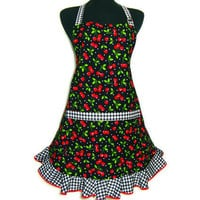 Retro Cherry Apron, Full Kitchen Hostess Style with Pocket and Ruffle