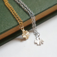 Matte Silver Clover Necklace Simple Everyday Jewelry