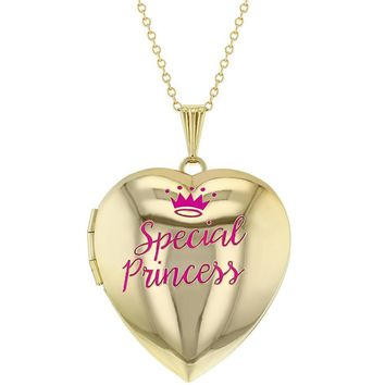 "Heart Shaped Photo Locket/Pink""Special Princess"" Crown Girls Pendant 16""Necklace"