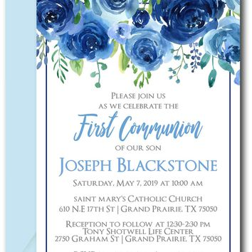 Navy First Communion Invitations