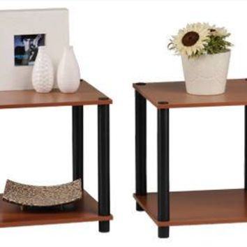 Momentum Furnishings End Table Set, Cherry Finish, 2-Piece