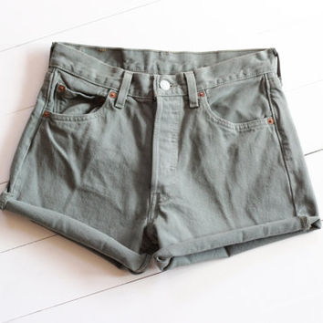 olive jean shorts / vintage Levi's 501s / green denim cut-offs