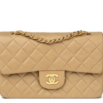 CHANEL DARK BEIGE QUILTED LAMBSKIN VINTAGE SMALL CLASSIC DOUBLE FLAP BAG HB1458