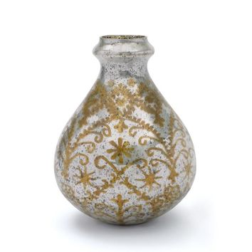 Antiqued Etched Opal Finish Glass Edison Vase