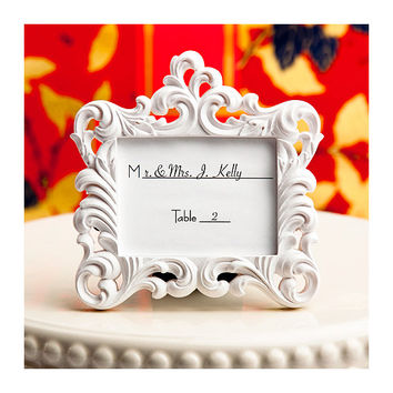 Place Card Holder Frames Set of 5 - Small White Picture Frame for Table Numbers - Wedding Favors Party Favor Victorian Bridal Shower
